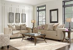 picture of Cindy Crawford Home Sidney Road Taupe 7 Pc Living Room from Living Room Sets Furniture