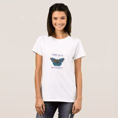 Modern abstract Free as a Butterfly print T-Shirt  $18.95  by natureimpressions  - cyo diy customize personalize unique