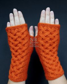 Hand Knitted Fingerless Gloves Orange Gloves by nbGlovesAndMittens