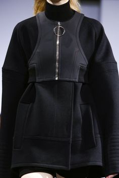 Black wool & rubberised leather coat, sporty chic fashion details // Paco Rabanne Fall 2015