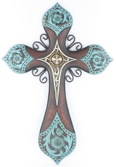 "Large 19"" x 13"" Tooled Turquoise Leather Look Wall Cross with center Concho and Scrolly Metal Accents - Western Cowboy Ranch Texas Decor Home,http://www.amazon.com/dp/B00CZCXEHC/ref=cm_sw_r_pi_dp_NmWGsb1HGHT8VDEH"