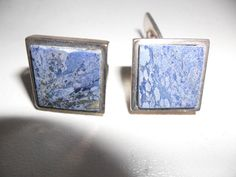 Georg Jensen Very Rare And Timeless Retro Lapis & 925 Sterling Silver Cuff-links