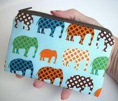 Urban Elephant Zipper pouch Little coin purse Padded Gadget Case by JPATPURSES, $8.00