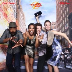 "The ""The Flash"" cast, Danielle Panabaker, Grant Gustin, Candice Patton, and Jesse L. Martin celebrating The Flash Bash event in LA."