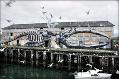 Vardø, Norway - Walls KOMAFEST - thanks to Pøbel; 3rd image by Ian Cox  The building was formerly used to clean fish. Norway unfortunately still hunts whales. 24 hours daylight to paint.   In the winter they have 24 hours darkness, ... a very unique experience