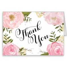 """Modern Vintage Pink Floral Wedding Thank You--**EXPLORE an Amazing Collection of  """"Theme Matching Wedding Invitation Sets"""" by Visiting... http://www.zazzle.com/weddinginvitationkit"""