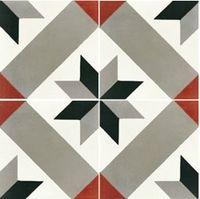 Carreaux de ciment décor formes géométriques 20x20 cm gris rouge 93€/m²