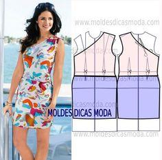 Faça a analise de forma detalhada do desenho do molde de vestido decote assimétrico. Vestido simples e belo, veste de forma descontraída e elegante.: