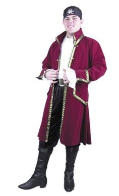 Velvet Pirate Captain Costume (Size: X-Large 46-48) - Click image twice for more info - See a larger selection womens men's pirate costume at http://costumeriver.com/product-category/men/ - mens, holiday costume , event costume , halloween costume, cosplay costume, classic costume, scary costume, pirate, classic costume, clothing