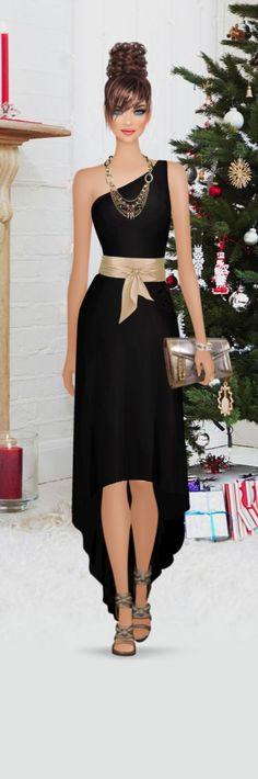 It Feels Like Christmas! Moda Fashion, Covet Fashion, Fashion Show, Fashion Looks, Fashion Art, Womens Fashion, Fashion Design Template, Black Dress Outfits, Short Dresses