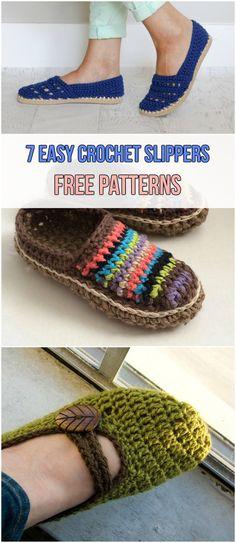 7 Easy Crochet Slippers Free Patterns #crochet #slippers