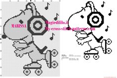 cross stitch pattern Snoopy on skates listening to music