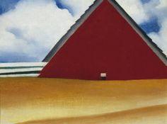 Georgia O'Keeffe (American, Sun Prairie, Wisconsin 1887–1986 Santa Fe, New Mexico) Red Barn in Wheatfield :: Drawings, Paintings & Sculpture