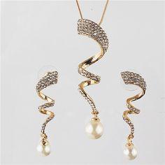 Aliexpress.com: Compre Chegada nova Vogue Design de moda mulheres ambiental 18 k banhado a ouro ondas de cristal austríaco jóias conjuntos de colar e brinco conjuntos de confiança brinco colar fornecedores em Lingfeng Yang's store