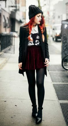 Moon of the Wolf: Lapel Fitted Black Blazer Grey Long Sleeve Wolf Print Sweatshirt Wine Red Flare Velvet Skirt and Pointed Flatform Sandals - by Lua P. Hipster Outfits, Grunge Outfits, Grunge Fashion, Cute Outfits, Fashion Outfits, Rock Outfits, Hipster Skirt, Hipster Tops, Fashion Black