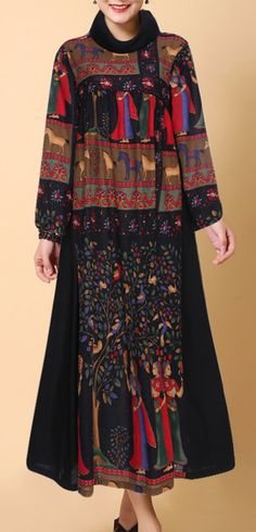 Gracila Ethnic Printed Turtleneck Long Sleeve Women Dresses. #women #dresses #winteroutfits