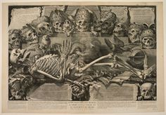 Michel Mosin, d'après Jean-Baptiste Corneille, Vanité au squelette dans : la mort est la solde et le paiement du péché, vers 1680 The Getty : Photo