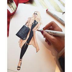Street fashion illustration by Houston fashion illustrator Rongrong DeVoe. More fashion illustration at www.rongrongillustration.etsy.com #fashionillustrator #fashionillustration #rongrongdevoe #copicart