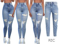The Sims 4 Fashion Nova Ripped Denim Jeans The Sims 4 Pc, Sims 4 Cas, Sims Cc, Denim Jeans, Ripped Denim, White Denim, Denim Shirts, Raw Denim, Sims 4 Mods Clothes