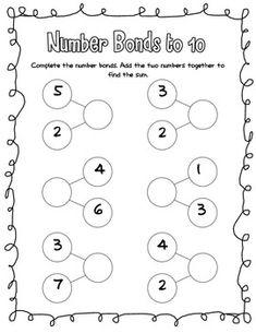 Number Bonds, addition and subtraction Number Bonds Worksheets, Number Worksheets Kindergarten, Kindergarten Math Activities, Teacher Worksheets, Printable Worksheets, Maths, Math In Focus, Kindergarten Morning Work, Singapore Math