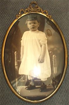 Antique Convex Bubble Curved Glass Picture and Frame Child Vintage Victorian   eBay