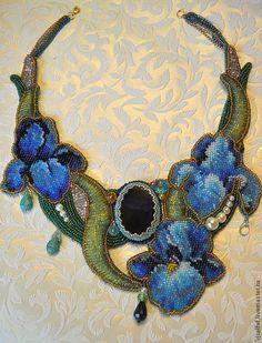 """Купить Колье """"Iris dream"""" - авторское украшение, Вышивка бисером, колье с цветами, колье с ирисами"""