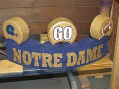 "Painted Notre Dame Curved Patio Paver with 3 Toppers (Helmet, ""GO"" & Football) by Crafty Treasures on FB Cement Pavers, Painted Pavers, Brick Pavers, Painted Rocks, Concrete Edging, Brick Crafts, Patio Blocks, Curved Patio, Brick Art"