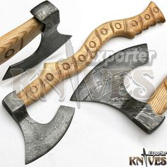 KNIVES EXPORTER New Tomahawk Viking Bearded Wooden Handle Damascus Steel Axe #KNIVESEXPORTER