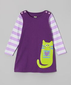 Look at this Purple Stripe Kitten Swing Dress - Toddler & Girls on today! Toddler Girl Dresses, Toddler Girls, Little Girl Fashionista, Cute Little Girls Outfits, Cool Kids Clothes, Kind Mode, Swing Dress, Boy Fashion, Baby Dress