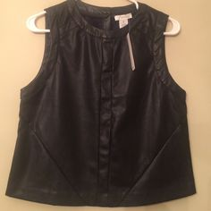 NEW black faux leather sleeveless top. New black faux leather top by B C N U  Very nice quality and classy BUNDLE  DISCOUNT B C N U Tops Blouses