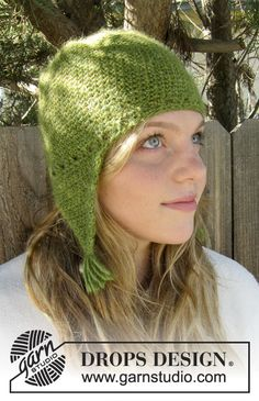 """Crochet DROPS hat with ear flaps in """"DROPS ♥ YOU #4"""" or """"Nepal"""". ~ DROPS Design"""