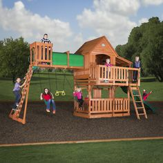 Woodridge II Wooden Swing Set. One of our most popular swing sets ever! The Woodridge II has an enormous raised clubhouse with covered side porch and open front sunporch. There's plenty of room for all to play on the top level, and they get there by a step ladder or a rock wall ladder that leads to a crow's nest and an elevated tunnel! Kids swing on two belt swings or a trapeze for some serious monkeying around. The 10' wave slide makes the Woodridge truly awesome! This is a fantastic swing…