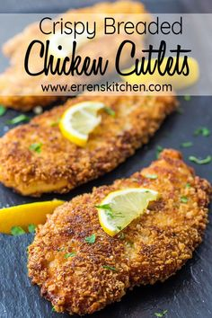 This easy how to make recipe for Crispy Breaded Chicken Cutlets are perfect for busy night weekdays, just slice chicken thin, egg, breadcrumbs, season then fry and youve got dinner friends and family will love Baked Breaded Chicken Cutlets, Thin Chicken Cutlet Recipes, Cutlets Recipes, Fried Chicken Breast, Breading For Chicken, Breaded Chicken Recipe Easy, Friend Chicken Recipe, Turkey Cutlet Recipes, Healthy Fried Chicken