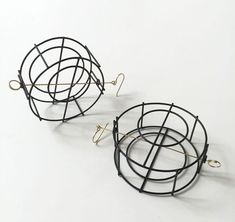 Donna D'Aquino, Large Steel Structure Earrings. Steel, 18ky gold