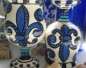 """Set of 2 Blue """"Bottoms Up"""" Wine Goblets"""