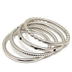 Stately Steel Set of 4 Crystal Textured Bangle Bracelets at HSN.com