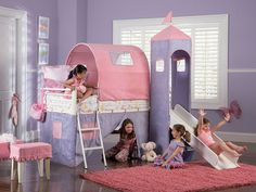 A bunk bed truly fit for a prihttps://luxe-kids-decor-furnishings.myshopify.com/admin/products/1270284035ncess. White bunk bed with slide also has a pink and purple microfiber tent (100% polyester). Y