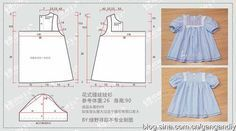 Cute little blue dress Baby Girl Dress Patterns, Baby Clothes Patterns, Sewing Patterns For Kids, Little Girl Dresses, Sewing For Kids, Baby Sewing, Baby Patterns, Kids Outfits, Kids Fashion