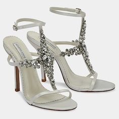 Benjamin Adams Wedding Shoes. Walk down the aisle in style & sparkle with these statement bridal sandals from Benjamin Adams on ivory silk satin.