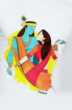 Krishna Painting, Madhubani Painting, Krishna Art, Radha Krishna Sketch, Radhe Krishna, Indian Art Paintings, Modern Art Paintings, Pichwai Paintings, Small Canvas Art