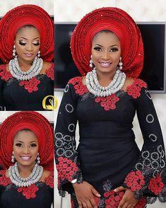Color combo alert: Black and red! Mua @oshewabeauty Asooke by @shadiat_alasooke Beads by @tavinbeads Lashes @lashbyglamgirl #sugarweddings