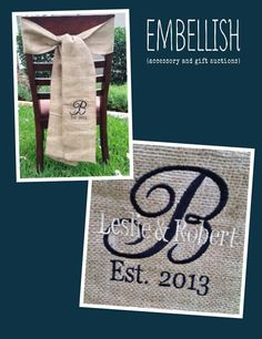 Burlap Sash, Personalized!  Place one around the chair of each member of your wedding party.  Change the colors for each personality or stick with the same colors to match your wedding decor! $28 free shipping