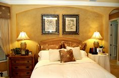 Speir Faux Finishes - Venetian plaster headboard wall and bedroom walls are color washed.