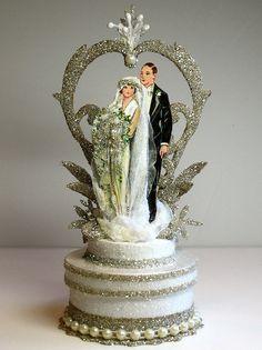 1920s Garden Deco Wedding Cake Topper di PatriciaMinishDesign, $120.00