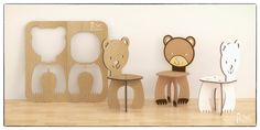 BEAR CHAIR Cnc template cutting file wooden by CncFactory More