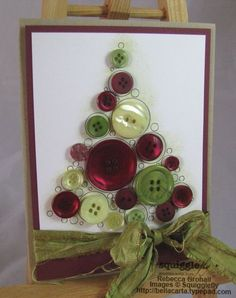 Buttons for Christmas. Instead of a card, make it as a framed piece