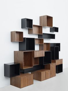 The innovative company in Dusseldorf myMITO presented in your idea of modular shelving systems - cubits. Refined and original designs offer a practical Modular Shelving, Modular Storage, Shelving Systems, Wall Storage, Wall Shelves, Shelf System, Box Shelves, Modular Furniture, Furniture Plans