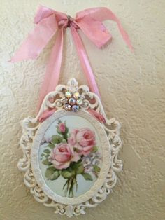 Shabby Chic wall ornament - pretty little scrollwork frame, hung from a pink ribbon - PrettyShabby2