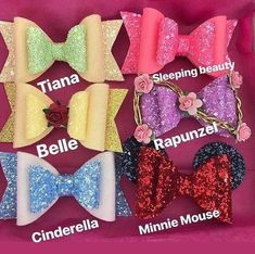 Disney princesses bow inspired , Belle -Aurora -Tiana- Rapunzel -Minnie Mouse-Cinderella , toddler bow, toddler hair clip, toddler headband - DIY and crafts - Toddler Hair Clips, Toddler Bows, Toddler Headbands, Baby Girl Headbands, Baby Bows, Toddler Girls, Toddler Outfits, Girl Outfits, Baby Set