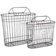 Rustic Black Numbered Wire Basket Set with Handles